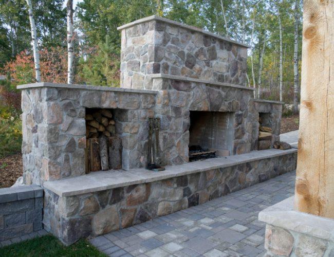 Custom Masonry - Stone Outdoor Fireplace - Dana Point CA