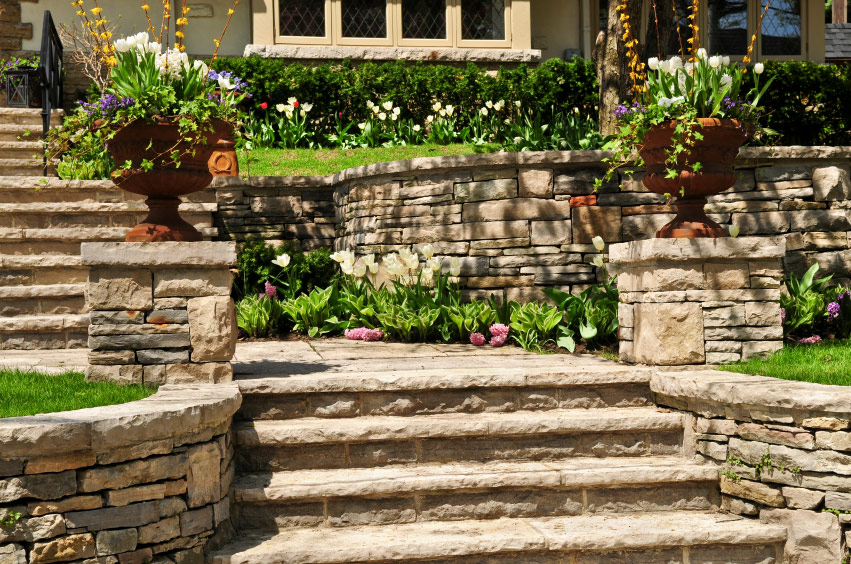 Custom masonry - Stone Stairs - Laguna Beach CA